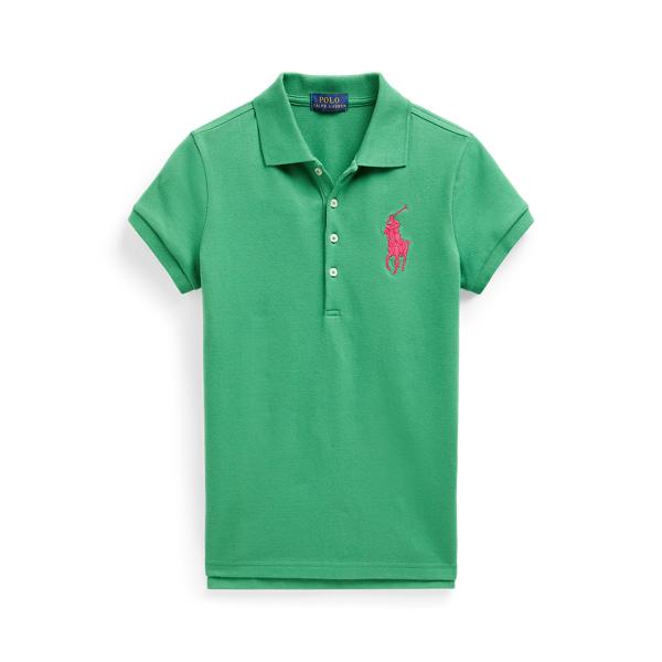 폴로 랄프로렌 걸즈 빅 포니 폴로 셔츠 Polo Ralph Lauren Big Pony Stretch Mesh Polo,Lifeboat Green
