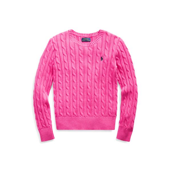 폴로 랄프로렌 Polo Ralph Lauren Cable-Knit Cotton Sweater,College Pink/Rl Navy