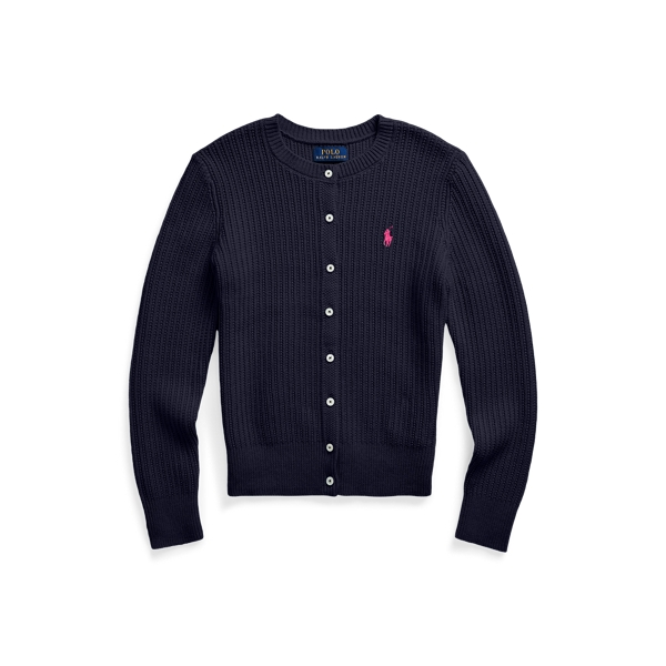 폴로 랄프로렌 Polo Ralph Lauren Preppy Cotton Cardigan,Rl Navy W College Pink Pp