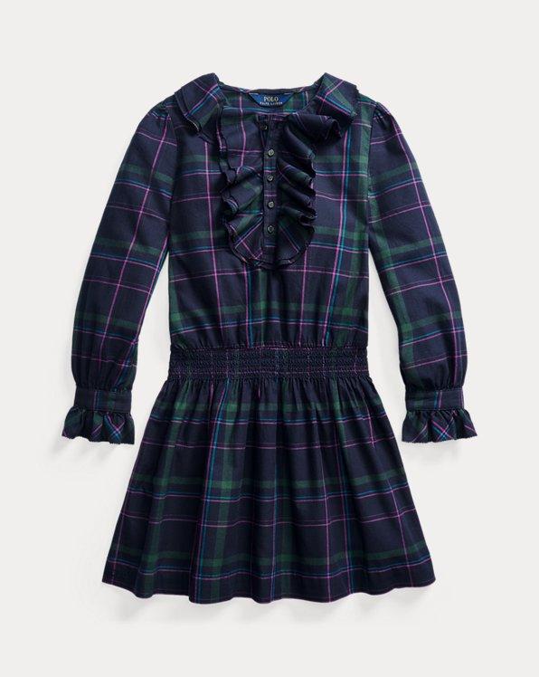 Ruffle-Trim Plaid Twill Dress