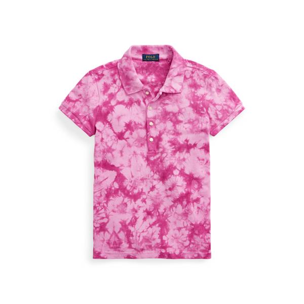폴로 랄프로렌 걸즈 폴로셔츠 Polo Ralph Lauren Tie-Dye Mesh Polo Shirt,College Pink Multi