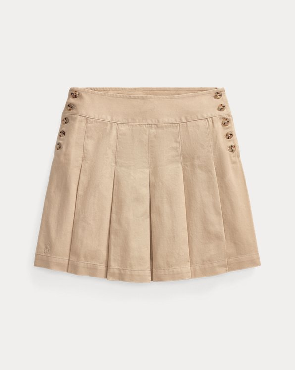 Pleated Cotton Chino Skirt