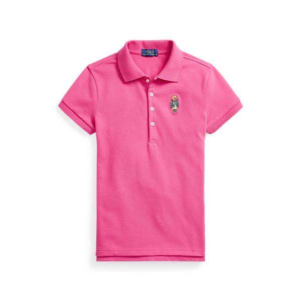폴로 랄프로렌 걸즈 폴로셔츠 Polo Ralph Lauren Polo Bear Stretch Mesh Polo Shirt,College Pink