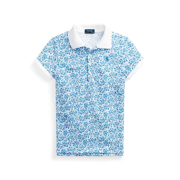 폴로 랄프로렌 걸즈 폴로셔츠 Polo Ralph Lauren Floral Stretch Mesh Polo,White Blue Multi