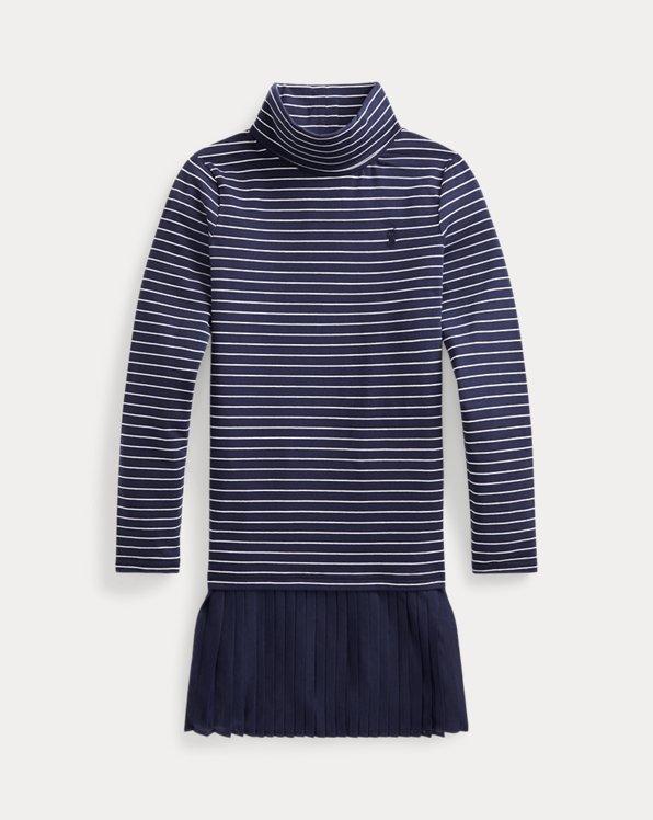 Pleated-Skirt Roll Neck Dress