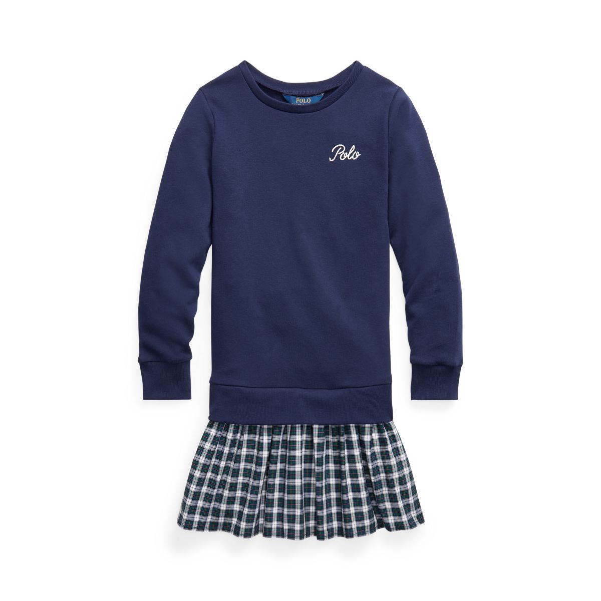 Plaid-Skirt Sweatshirt Dress