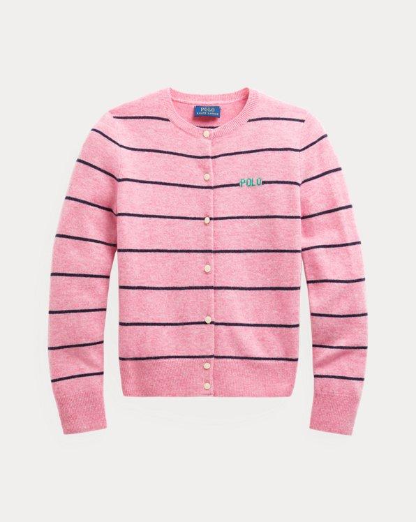 폴로 랄프로렌 걸즈 가디건 Polo Ralph Lauren Striped Wool Cardigan,Preppy Pink Heather