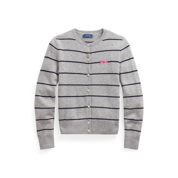 폴로 랄프로렌 Polo Ralph Lauren Striped Wool Cardigan,Spring Heather