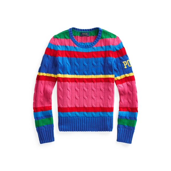 폴로 랄프로렌 Polo Ralph Lauren Striped Cable-Knit Sweater,Pink Multi