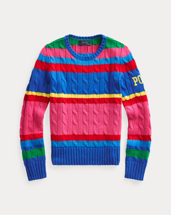 Striped Cable-Knit Jumper