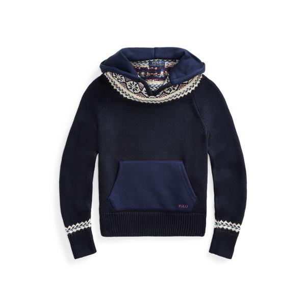 폴로 랄프로렌 Polo Ralph Lauren Fair Isle Hooded Sweater,RL Navy
