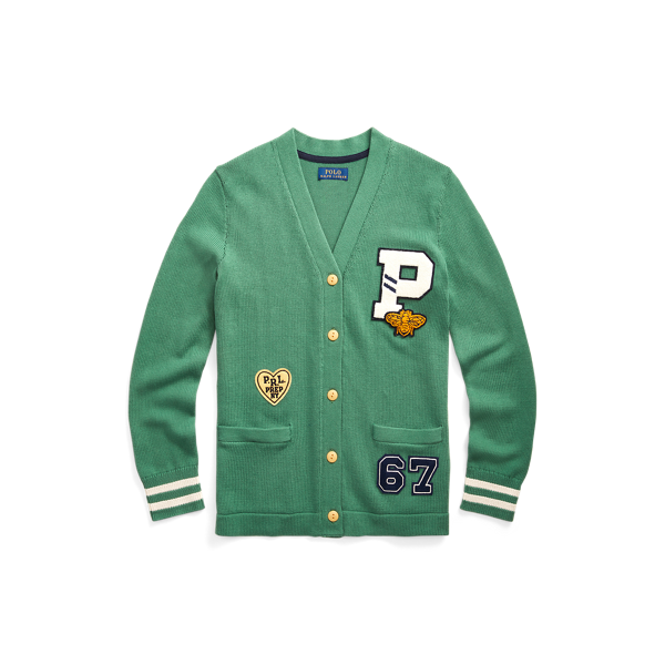 Athletic-Patch Cotton Cardigan