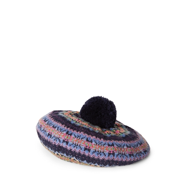 폴로 랄프로렌 걸즈 페어 아일 베레모 Polo Ralph Lauren Fair Isle Wool-Blend Beret,RL Navy