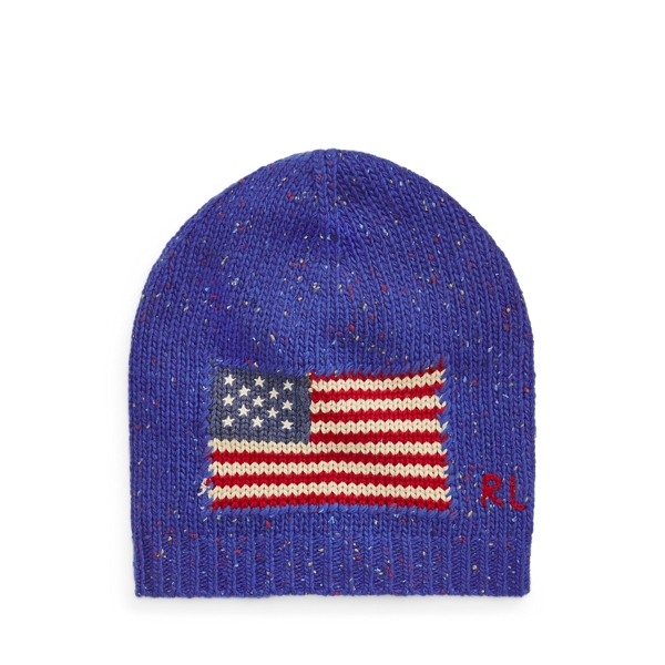 폴로 랄프로렌 걸즈 울 블렌드 비니 Polo Ralph Lauren Flag Wool-Blend Beanie,Blue Donegal