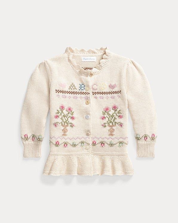 Cardigan à basque tricot intarsia