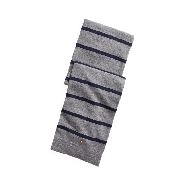 폴로 랄프로렌 보이즈 메리노 울 머플러 Polo Ralph Lauren Striped Merino Wool Scarf,Boulder Grey Heather