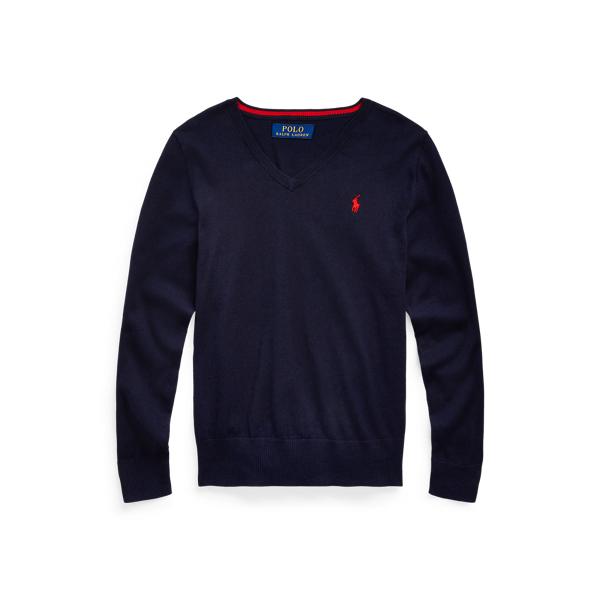 폴로 랄프로렌 Polo Ralph Lauren Cotton V-Neck Sweater,RL Navy