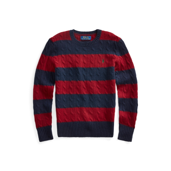 폴로 랄프로렌 Polo Ralph Lauren Cable Wool-Cashmere Sweater,Classic Wine