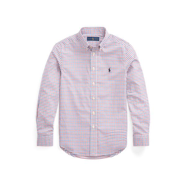 폴로 랄프로렌 보이즈 셔츠 Polo Ralph Lauren Tattersall Cotton Poplin Shirt,Classic Wine/White