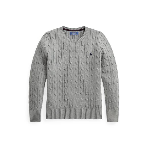폴로 랄프로렌 Polo Ralph Lauren Cable-Knit Cotton Sweater,League Heather