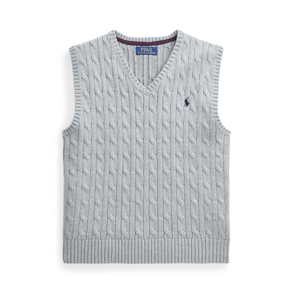 폴로 랄프로렌 Polo Ralph Lauren Cable-Knit Cotton Sweater Vest,League Heather