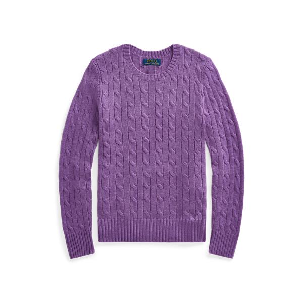 폴로 랄프로렌 Polo Ralph Lauren Cable-Knit Cashmere Sweater,Purple Heather