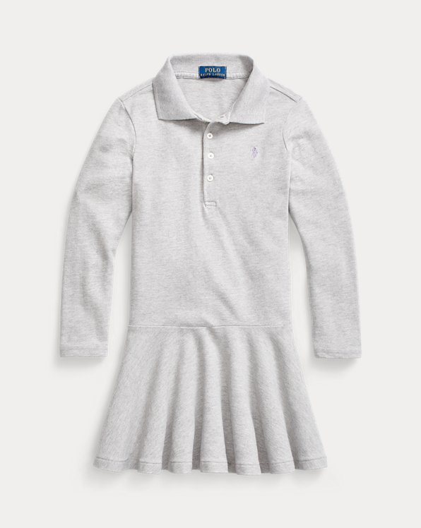 Mesh Long-Sleeve Polo Dress