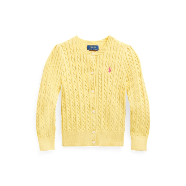 폴로 랄프로렌 여아용 꽈배기 니트 가디건 Polo Ralph Lauren Mini-Cable Cotton Cardigan,Fall Yellow