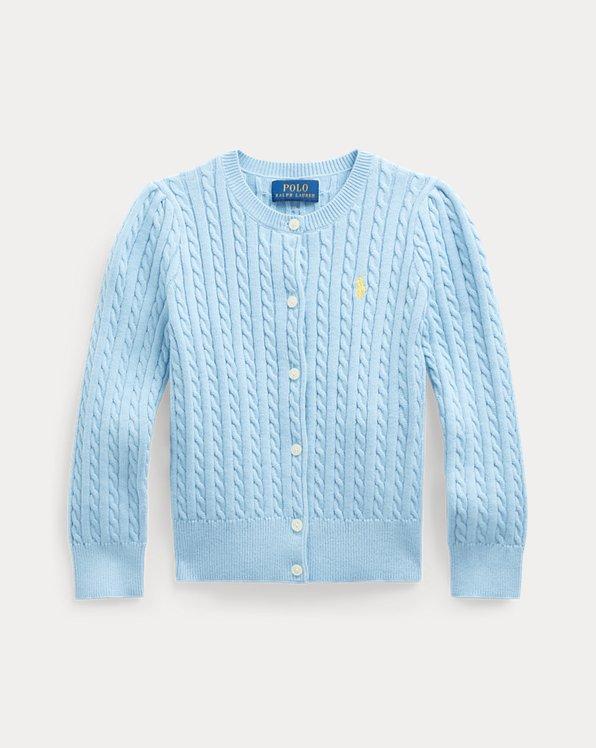 폴로 랄프로렌 여아용 꽈배기 가디건 Polo Ralph Lauren Mini-Cable Cotton Cardigan,Powder Blue
