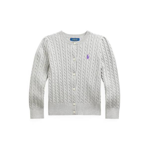 폴로 랄프로렌 Polo Ralph Lauren Mini-Cable Cotton Cardigan,Spring Heather