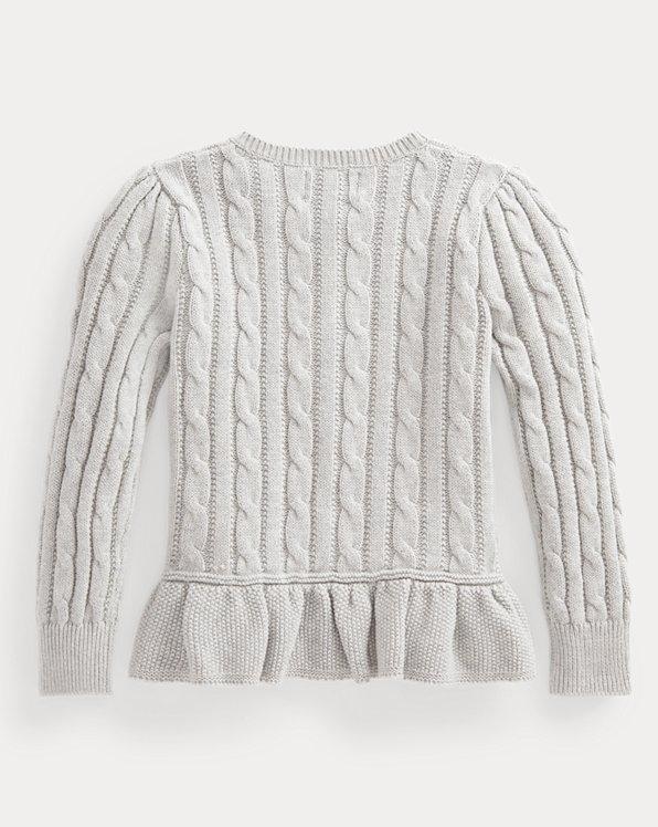 Cable Cotton Peplum Cardigan