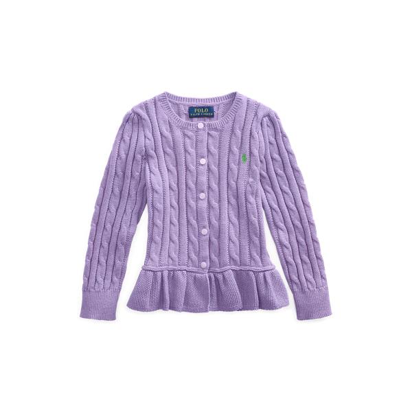 폴로 랄프로렌 Polo Ralph Lauren Cable Cotton Peplum Cardigan,Safari Purple Heather