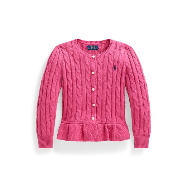 폴로 랄프로렌 여아용 꽈배기 니트 코튼 페플럼 가디건 - 핑크 헤더 Polo Ralph Lauren Cable Cotton Peplum Cardigan 548976
