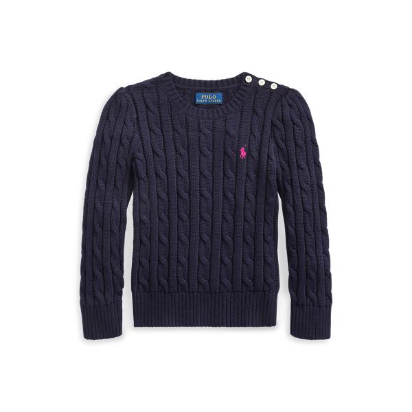 폴로 랄프로렌 Polo Ralph Lauren Cable-Knit Cotton Sweater,Rl Navy/College Pink