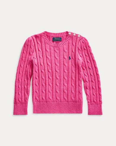 폴로 랄프로렌 여아용 꽈배기 니트 코튼 스웨터 - 핑크 Polo Ralph Lauren Cable-Knit Cotton Sweater 548977