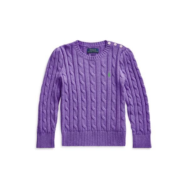 폴로 랄프로렌 여아용 꽈배기 니트 코튼 스웨터 - 퍼플 Polo Ralph Lauren Cable-Knit Cotton Sweater 548977