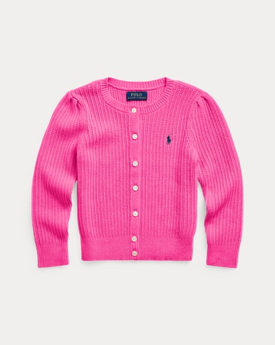 폴로 랄프로렌 걸즈 가디건 Polo Ralph Lauren Combed Cotton Cardigan,College Pink