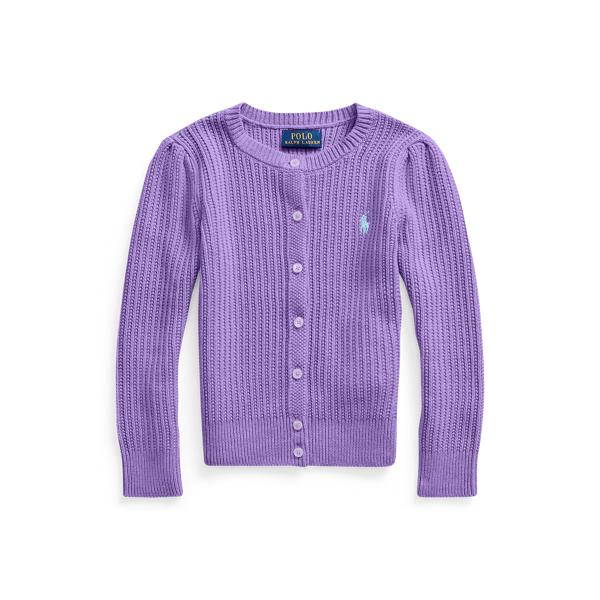 폴로 랄프로렌 Polo Ralph Lauren Cable-Knit Cotton Cardigan,Rugby Purple