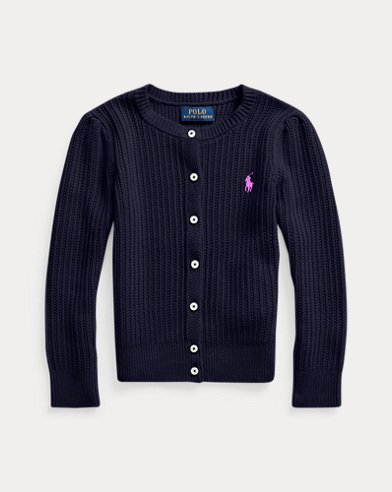 폴로 랄프로렌 걸즈 가디건 Polo Ralph Lauren Combed Cotton Cardigan,RL Navy