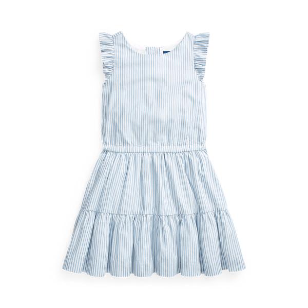 폴로 랄프로렌 여아용 원피스 Polo Ralph Lauren Striped Tiered Cotton Dress,Blue White