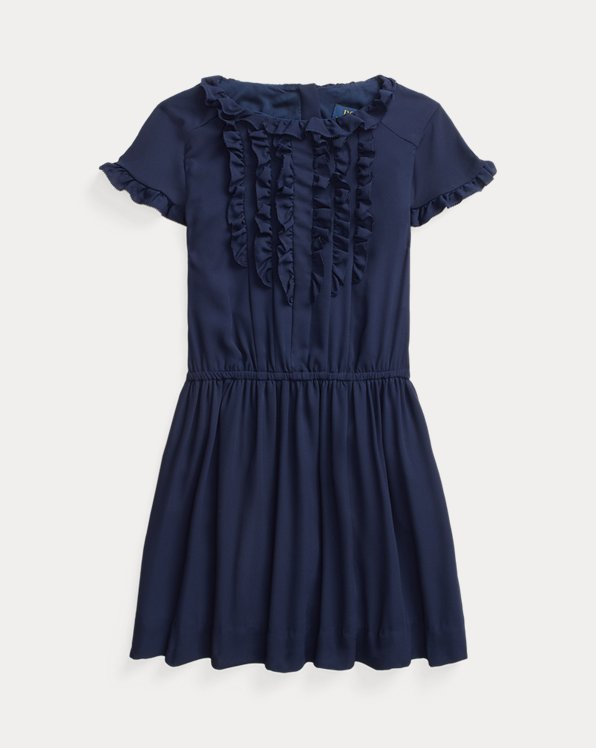 Ruffled Crepe Dress