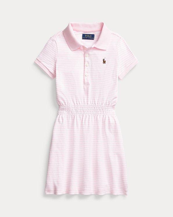 Striped Cotton Mesh Polo Dress