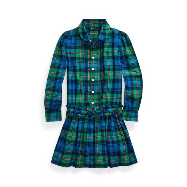폴로 랄프로렌 여아용 셔츠드레스 Polo Ralph Lauren Plaid Cotton Twill Shirtdress,Green Blue