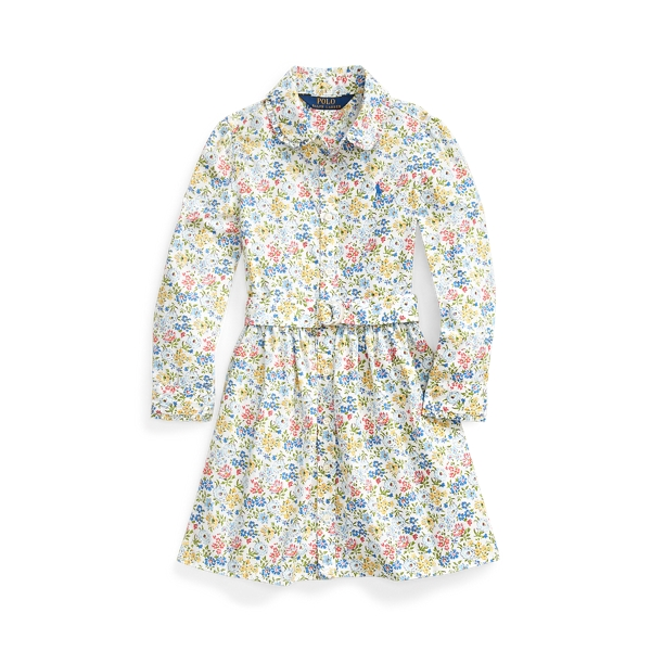 폴로 랄프로렌 여아용 셔츠드레스 Polo Ralph Lauren Floral Belted Shirtdress,White Multi