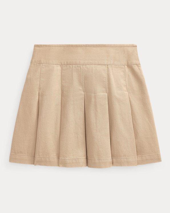 Pleated Cotton Chino Skirt