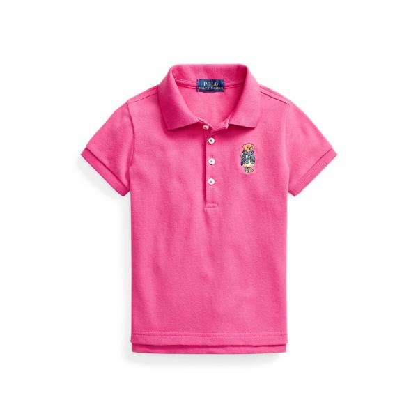 폴로 랄프로렌 여아용 폴로셔츠 Polo Ralph Lauren Polo Bear Stretch Mesh Polo Shirt,College Pink