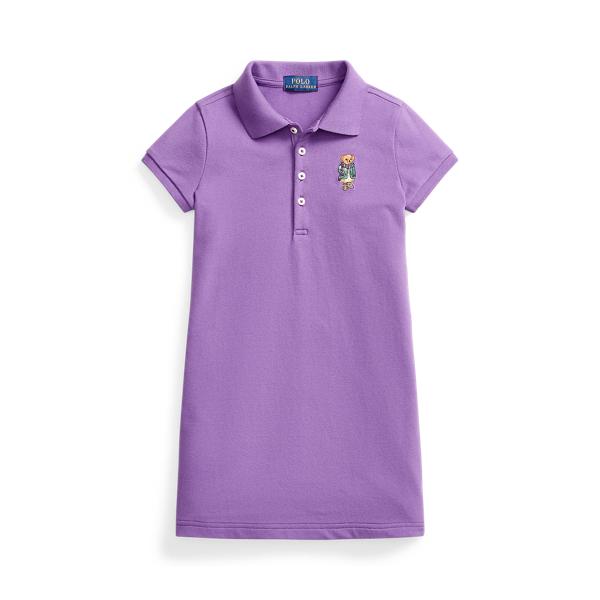 폴로 랄프로렌 여아용 원피스 Polo Ralph Lauren Polo Bear Mesh Polo Dress,Rugby Purple