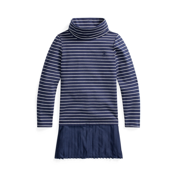 폴로 랄프로렌 여아용 터틀넥 원피스 Polo Ralph Lauren Pleated-Skirt Turtleneck Dress,French Navy Multi
