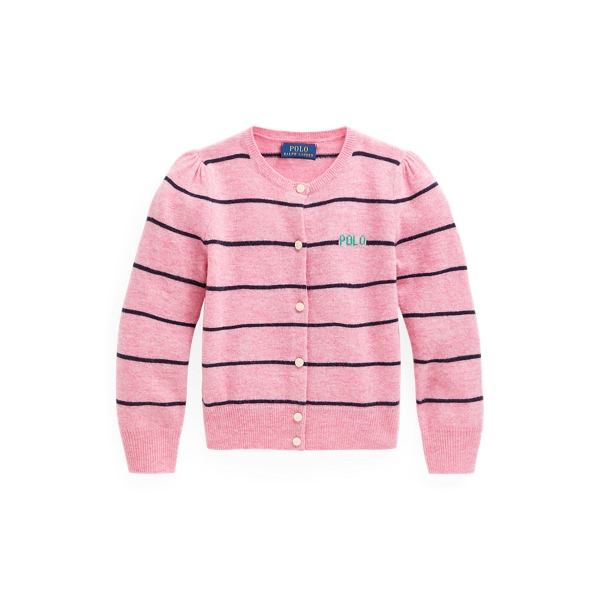 폴로 랄프로렌 Polo Ralph Lauren Striped Wool Cardigan,Preppy Pink Heather