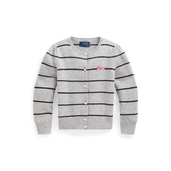 폴로 랄프로렌 걸즈 가디건 Polo Ralph Lauren Striped Wool Cardigan,Spring Heather